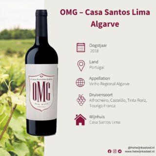 ❗️OMG ❗️NEW WINE - Wij hebben een nieuwe wijn in ons assortiment van ons vertrouwde wijnhuis Casa Santos Lima Algarve. Hoe leuk is deze fles? 🙌🏼  Een donkerrode wijn met rijp fruit, zoethout, toetsen van chocolade, kruiden en lichte vanille tonen. Vol en sappig , met rijpe tannine en een aangename afdronk.   Kortom, OMG een echte prijs/kwaliteit topper met zeer goede recensies 😉   Nu te bestellen op www.hetwijnkasteel.nl